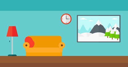 modern interior: Background of living room vector flat design illustration. Horizontal layout.