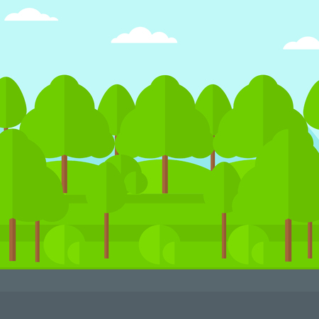 speedway park: Background of forest with an asphalt road vector flat design illustration. Square layout. Illustration