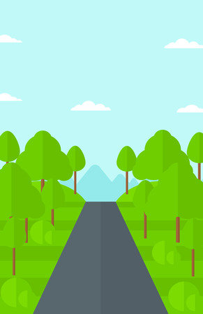 speedway park: Background of forest with an asphalt road vector flat design illustration. Vertical layout.