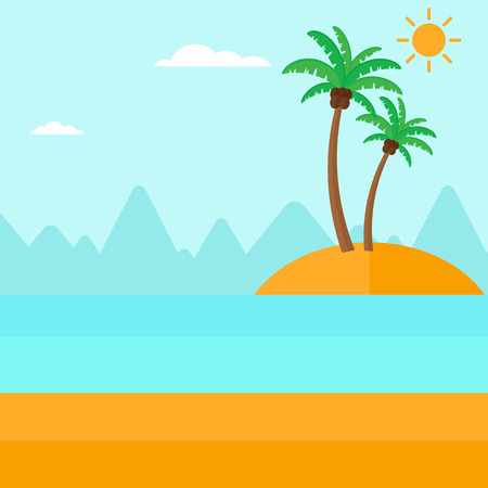 uninhabited: Background of small tropical island with palm trees and the ocean vector flat design illustration. Square layout. Illustration