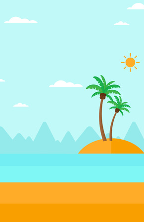islet: Background of small tropical island with palm trees and the ocean vector flat design illustration. Vertical layout. Illustration