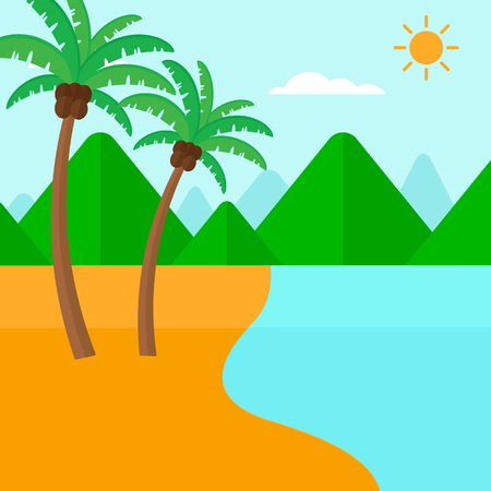 seaside resort: Background of tropical beach with palm trees and the sea vector flat design illustration. Square layout.