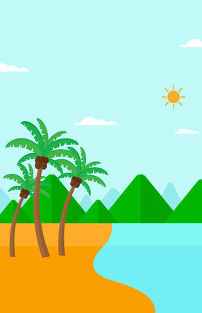 beach landscape: Background of tropical beach with palm trees and the sea vector flat design illustration. Vertical layout. Illustration