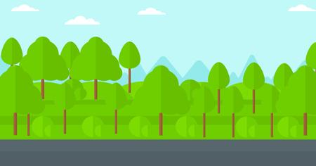 road design: Background of forest with an asphalt road vector flat design illustration. Horizontal layout.