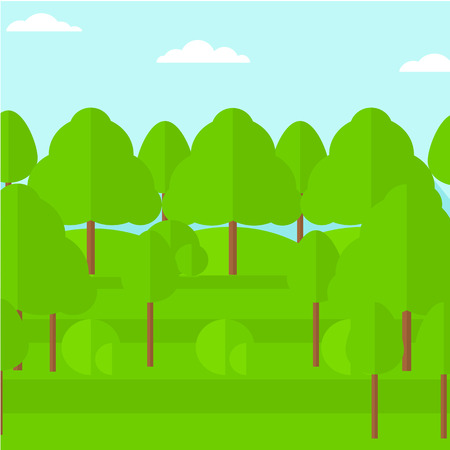 cartoon summer: Background of green forest vector flat design illustration. Square layout. Illustration