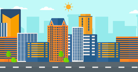 Background of modern city and a road vector flat design illustration. Horizontal layout.