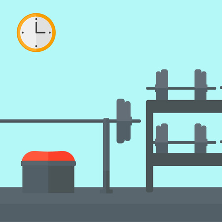 recreation rooms: Background of gym with equipment vector flat design illustration. Square layout.