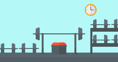 recreational area: Background of gym with equipment vector flat design illustration. Horizontal layout.