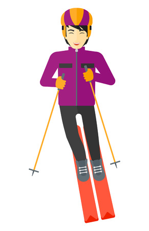 slopes: An asian man skiing vector flat design illustration isolated on white background.
