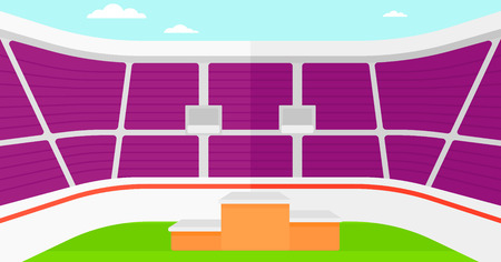 grandstand: Background of stadium with podium for winners vector flat design illustration. Horizontal layout. Illustration
