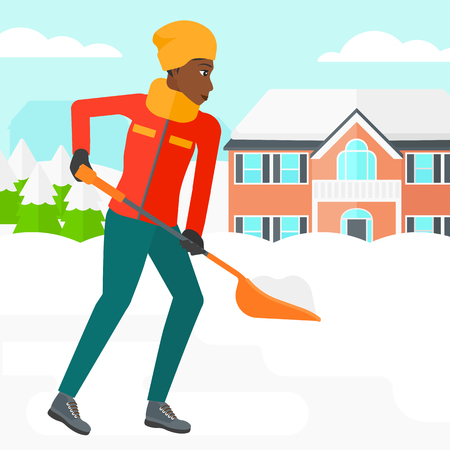 An african-american woman shoveling and removing snow in front of house  vector flat design illustration. Square layout.