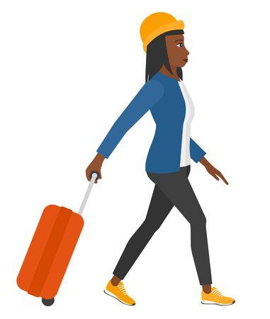 Een afro-Amerikaanse vrouw die met een koffer vector loopt, platte ontwerp illustratie geïsoleerd op een witte achtergrond.