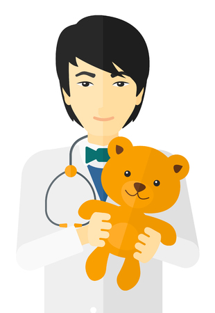 pediatrician: An asian pediatrician with a stethoscope and a teddy bear vector flat design illustration isolated on white background.