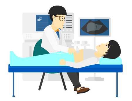 An asian patient laying in bed with ultrasonic equipment during ultrasound medical examination vector flat design illustration isolated on white background.
