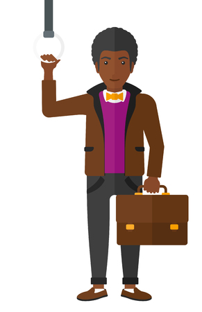 handgrip: An african-american man with a suitcase standing inside a train vector flat design illustration isolated on white background.