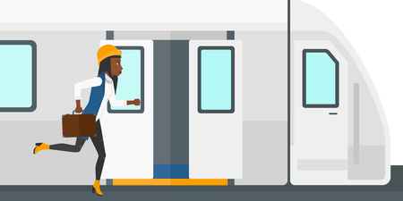 hurrying: Latecomer woman running along the platform to reach the train vector flat design illustration isolated on white background. Illustration