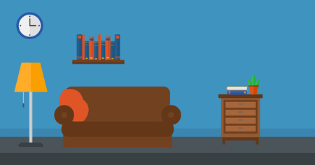 furnished: Background of furnished room vector flat design illustration. Horizontal layout.