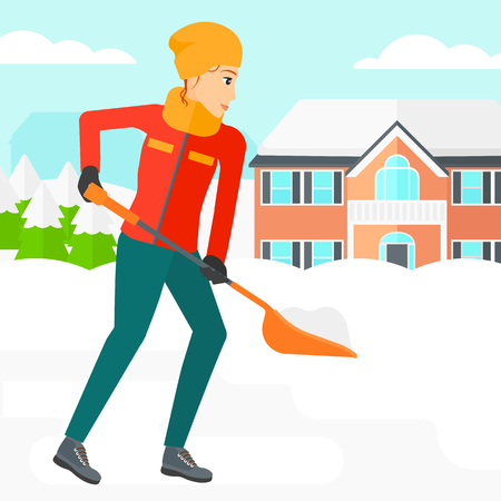 shoveling: A woman shoveling and removing snow in front of house  vector flat design illustration. Square layout. Stock Photo