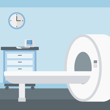Background of hospital room with MRI machine vector flat design illustration. Square layout.