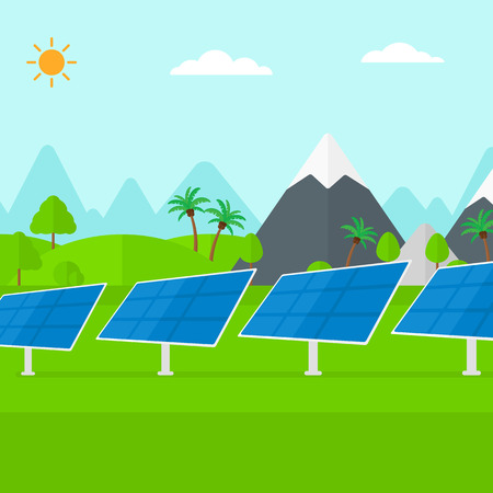 photocell: Background of solar power station in the mountain vector flat design illustration. Square layout.
