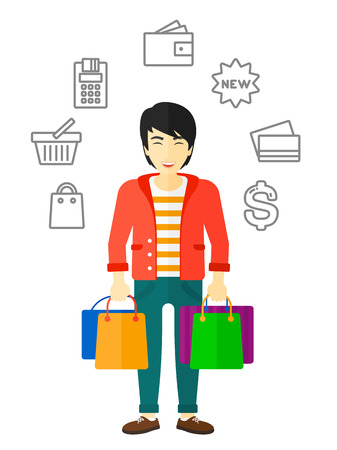 him: An asian customer with bags and some shopping icons around him vector flat design illustration isolated on white background.