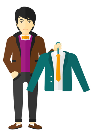 choosing clothes: An asian man holding in hand a hanger with a jacket  vector flat design illustration isolated on white background.