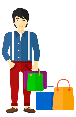 An asian man standing with some shopping bags in hand and some bags on the floor vector flat design illustration isolated on white background.