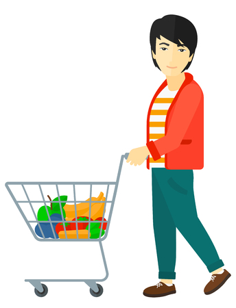 pushing: An asian man pushing a supermarket cart with some goods in it vector flat design illustration isolated on white background.