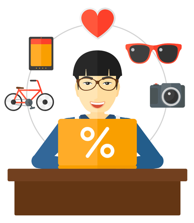 A man sitting in front of laptop with some icons of goods around him vector flat design illustration isolated on white background. Illustration
