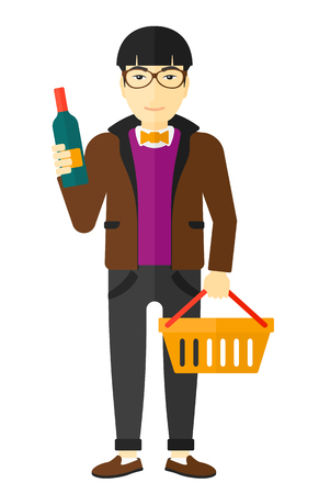 shopping champagne: An asian man holding a shopping basket in one hand and a bottle of wine in another vector flat design illustration isolated on white background.