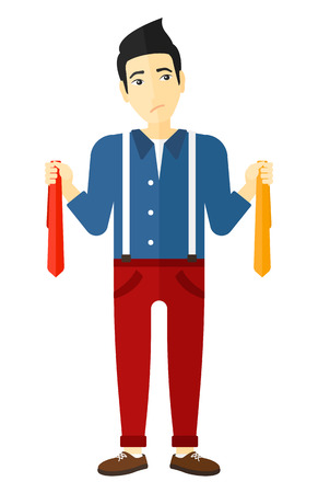 An asian man holding two different neckties and trying to choose the best one vector flat design illustration isolated on white background. Vettoriali