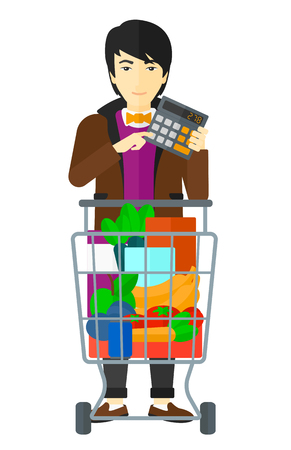 An asian man standing near shopping cart and holding a calculator in hands vector flat design illustration isolated on white background. Illustration