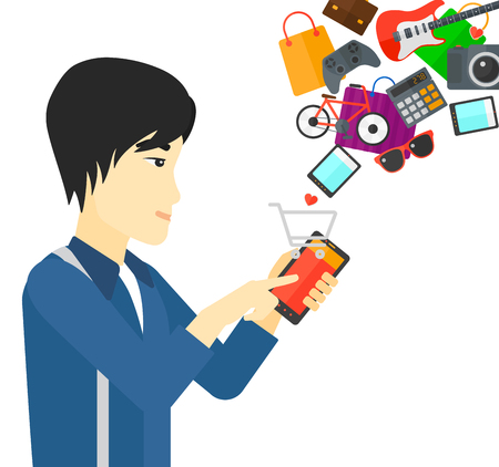 smartphone icon: An asian man holding a smartphone with shopping cart and application icons flying out vector flat design illustration isolated on white background.