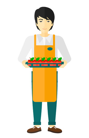 grocer: An asian surpermarket worker holding a box with apples vector flat design illustration isolated on white background. Illustration
