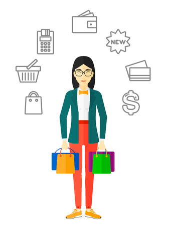 An asian woman with bags in hands and some shopping icons around her vector flat design illustration isolated on white background. Illustration
