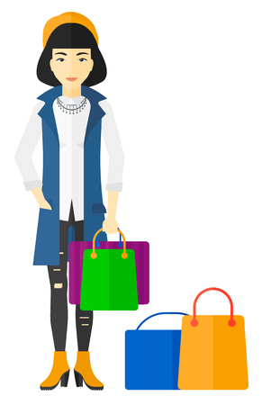 An asian woman standing with some shopping bags in hand and some bags on the floor vector flat design illustration isolated on white background.