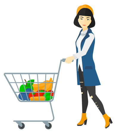 An asian woman pushing a supermarket cart with some goods in it vector flat design illustration isolated on white background.