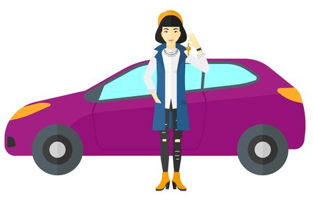 An asian woman with key in hand standing near her new car vector flat design illustration isolated on white background.