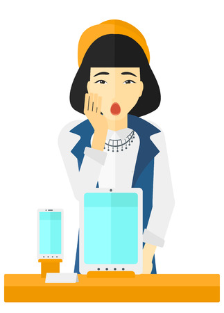 An astonished asian woman looking at digital tablet and smartphone through the shop window vector flat design illustration isolated on white background. Ilustração
