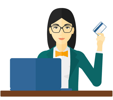 purchases: An asian woman sitting in front of laptop with credit card in hand making purchases online vector flat design illustration isolated on white background.