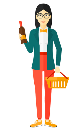 shopping champagne: An asian woman holding a shopping basket in one hand and a bottle of wine in another vector flat design illustration isolated on white background.