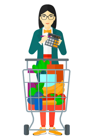 An asian woman standing near shopping cart and a calculator in hands vector flat design illustration isolated on white background.