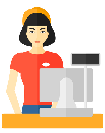 checkout: An asian saleslady standing at checkout vector flat design illustration isolated on white background.