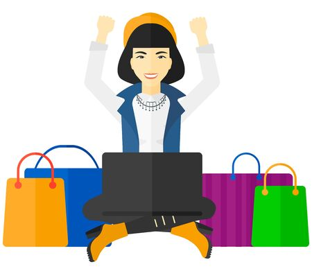 woman hands up: An asian woman sitting in front of laptop with hands up and some bags of goods nearby vector flat design illustration isolated on white background.