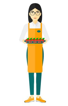 mujer en el supermercado: Un trabajador surpermarket Asia la celebración de una caja de manzanas de vector diseño plano aislado en el fondo blanco.