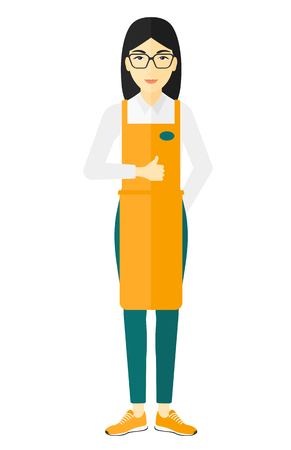 manager: An asian supermarket worker showing thumb up vector flat design illustration isolated on white background.