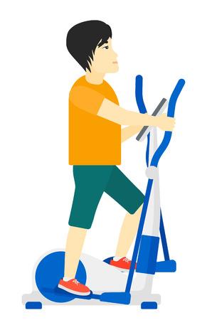 eliptica: Un hombre asiático ejercicio en una máquina de vector diseño plano elíptico aislado sobre fondo blanco.