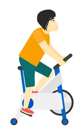 stationary bicycle: An asian man exercising on stationary training bicycle vector flat design illustration isolated on white background.