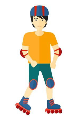 sporty: An asian sporty man on the roller-skates vector flat design illustration isolated on white background.