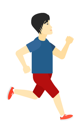 sportive: An asian sportive man jogging vector flat design illustration isolated on white background.